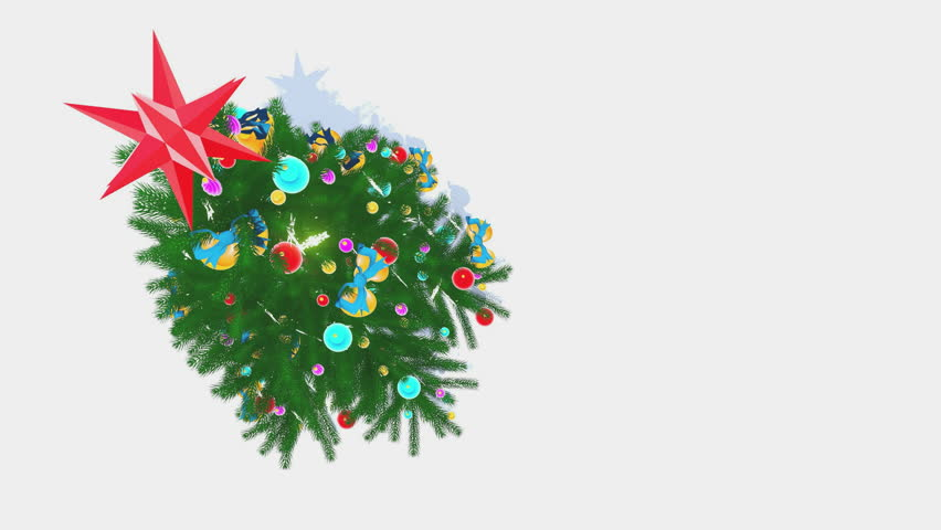 top down view on the rotating decorated christmas tree with red star on its top on a white background at snowfall decorative 3d animation sliding downward - Videos Of Decorated Christmas Trees