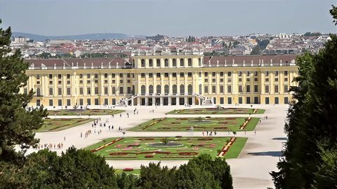 VIENNA, AUSTRIA - AUGUST 25, 2015: Schonbrunn Palace (Schloss Schonbrunn) is a former baroque imperial summer residence located in Vienna.