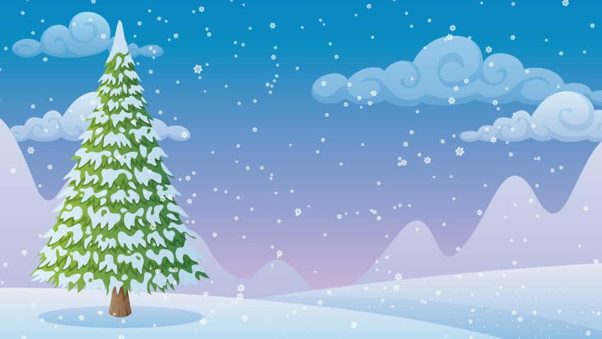 2 Christmas Tree.Winter Landscape 2 Cartoon Winter Stock Footage Video 100 Royalty Free 13209557 Shutterstock