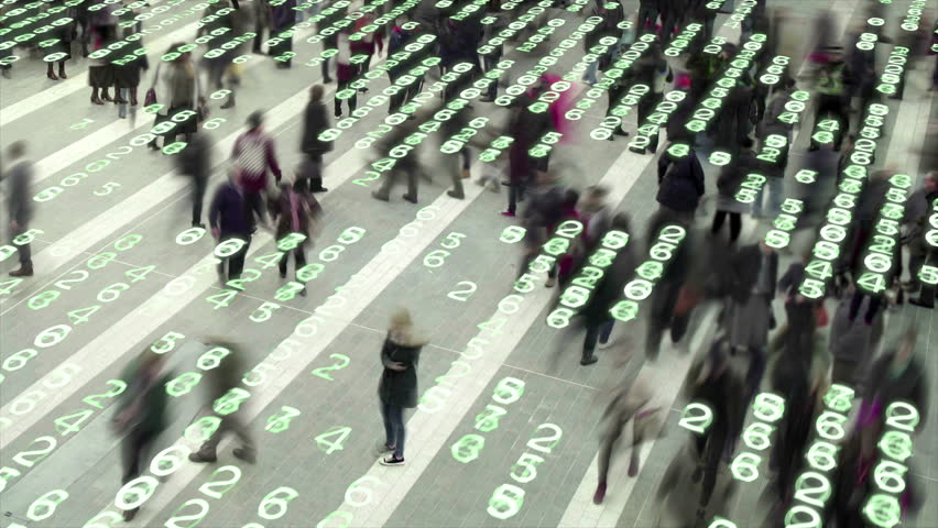 Living in a data matrix city. People walking in a city square composited with a grid of glowing, electronic numbers. | Shutterstock HD Video #13238567