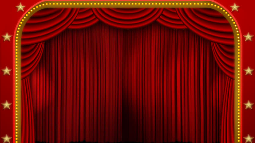 Red Stage Curtain. High Quality Computer Animation. Stock