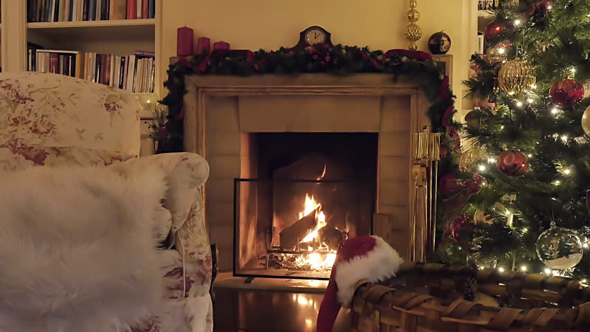 Christmas Tree Near A Fireplace. Very Typical Christmas Living ...