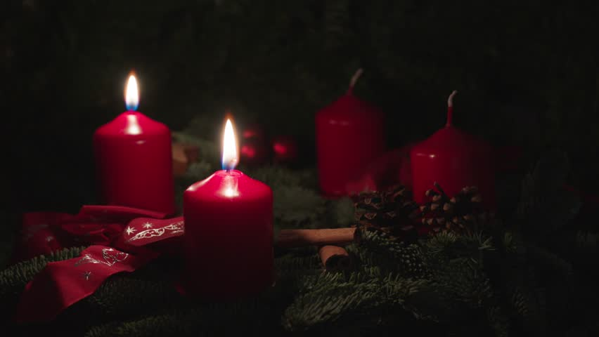 advent wreath, two candles, red christmas wreath #13289999