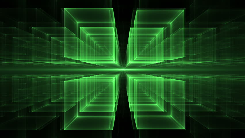 Green Cubes Rotating in Perspective -Dynamic translucent cubes rotating in space on black background stretching off to infinity,  geometrical horizon, abstract illustration, animation, seamless loop | Shutterstock HD Video #13297247