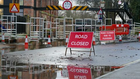 Road closed signs due to flood water. York, North Yorkshire, UK.