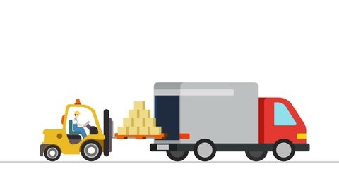 Forklift loader load boxes into a truck animation. Flat design looped animated process. Video concept for delivery service.