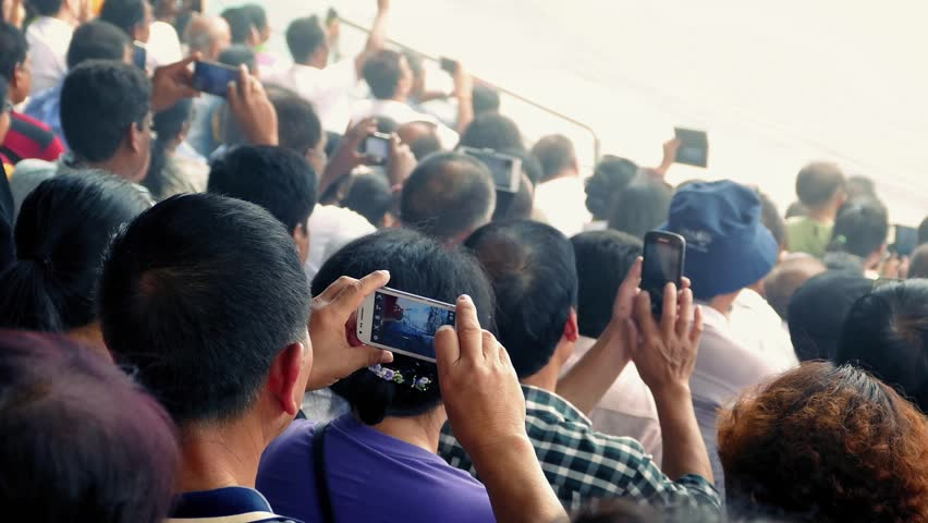 Crowd Of People On Smartphones