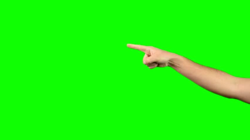 Pointing Hand On Green Screen Chroma Key