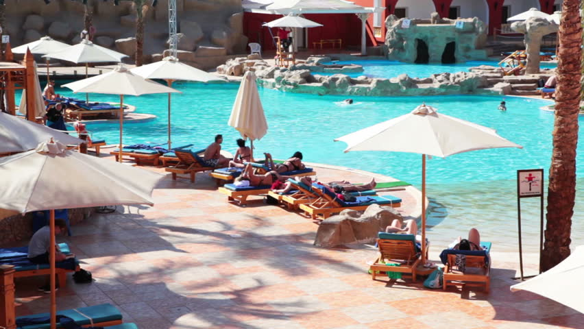 Hotel pool with people  Stock video of hurghada, egypt - circa nov, 2015: | 13349657 ...