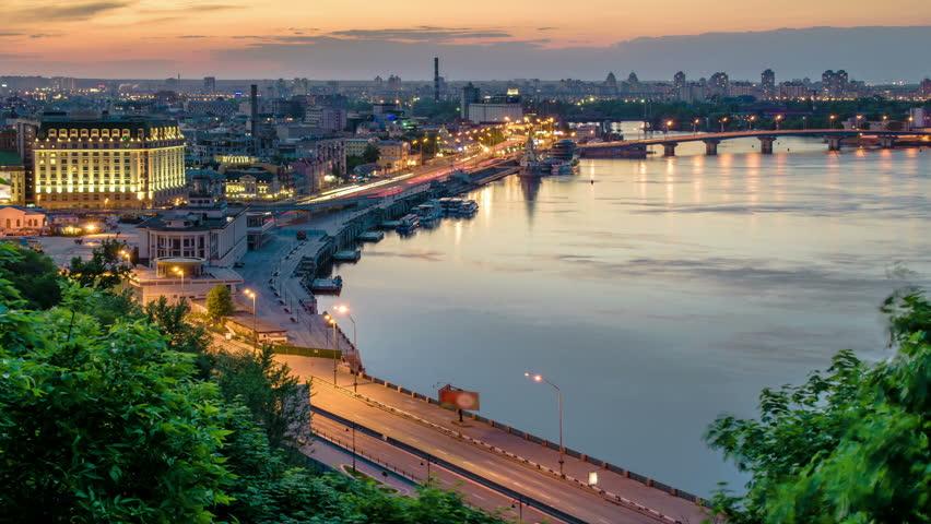 Kiev. Ukraine. Panorama at night city Kiev. Timelapse.   Shutterstock HD Video #13356197