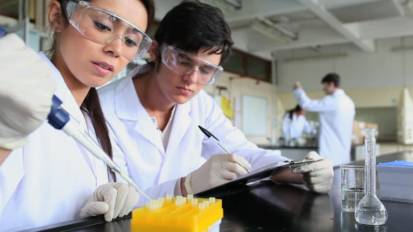 Young scientists preparing samples in a laboratory
