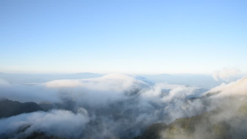 Clouds running over mountain view from the top Doi Luang Chiang Dao in the morning | Shutterstock HD Video #13371410