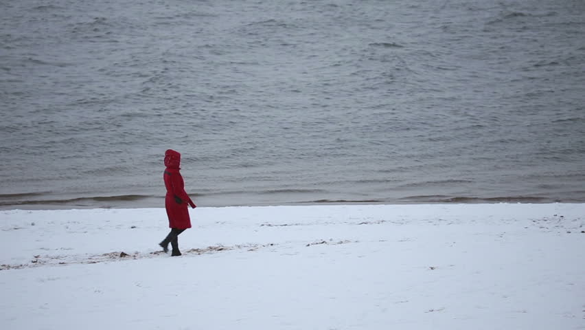 SAMARA, SAMARA REGION/RUSSIA   DECEMBER 05: The Girl In The Red Coat