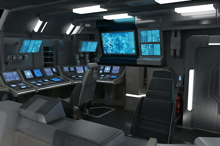 3D animation of a sci-fi spaceship bridge with many screens.