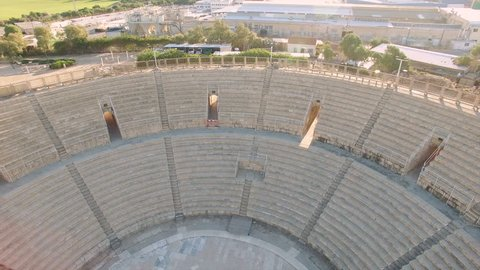 Aerial Israel. Raising up from Caesarea Amphitheater to sky