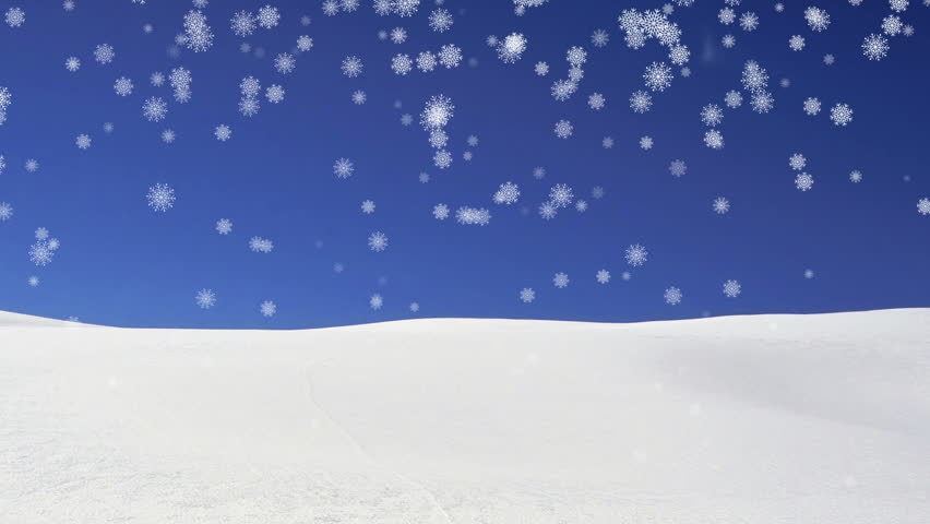 Snowy landscape with animated snowflakes falling.