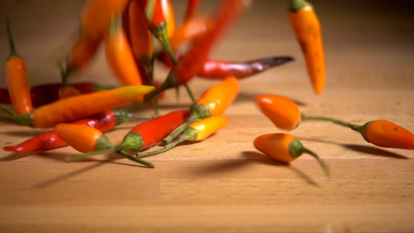 Chilli Peppers falling in slow motion