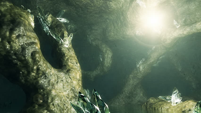 3D animation. Magic light flying through the cave with lot of crystals. Loop footage.