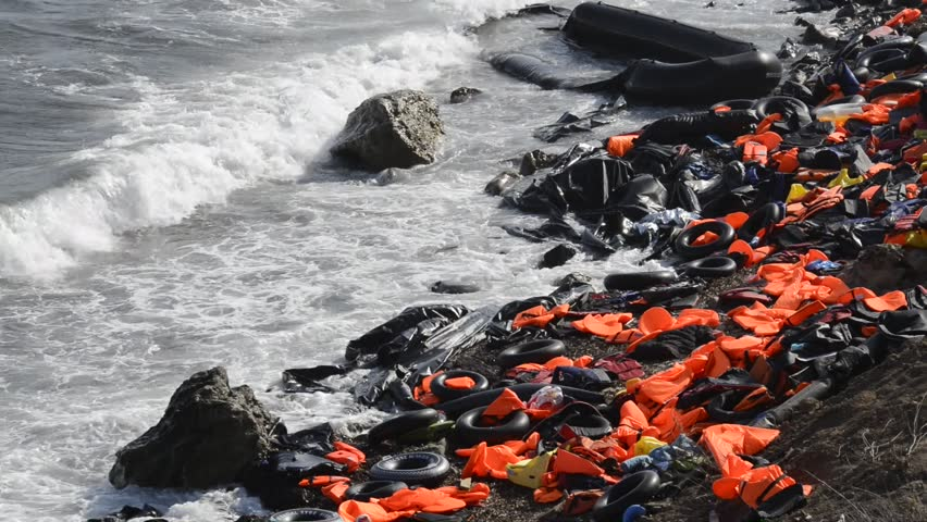 LESVOS, GREECE October 05, 2015. Life jackets, rubber rings an pieces of the rubber dinghies discarded on a beach near Molyvos. Eftalou and Skala Sikaminia. Lesvos has been a hot spot for refugees.