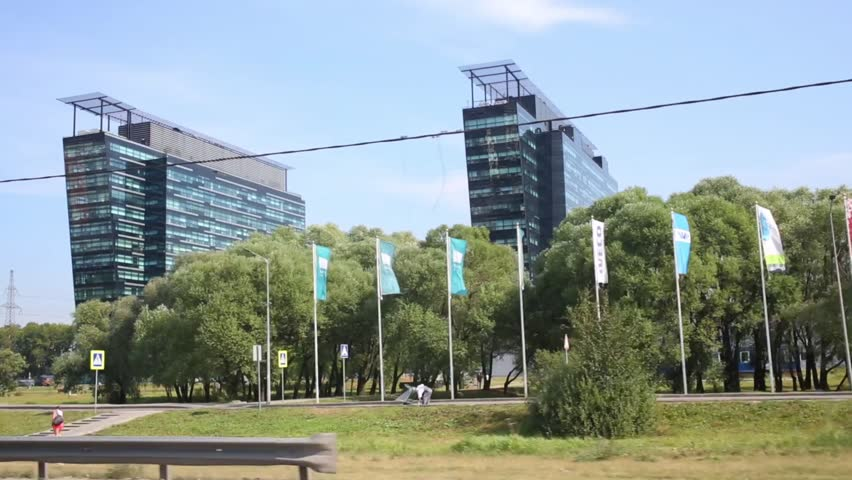 MOSCOW, RUSSIA - AUG 20, 2014: Two modern highrise buildings of Khimki Business Park at Leningradskoye highway.