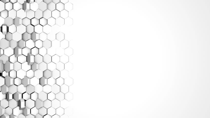 White Hexagon Wipe Transition. Left to Right. High-tech 3D animation. 4K Ultra HD. Alpha Luma Matte included.