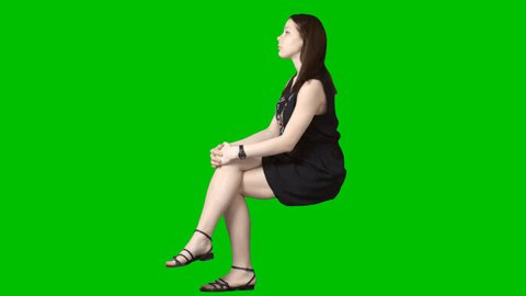 Pretty brunette girl sits in summer clothes. Green screen clip. Footage with alpha channel. File format - .mov. Codec - PNG+Alpha. Combine these footage with your background or other people