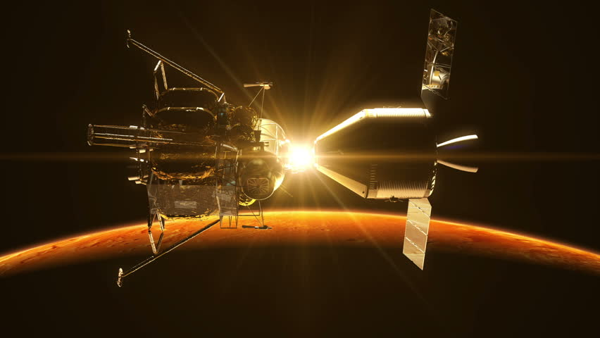 Undocking Of The Space Station In The Rays Of Sun Over Mars. 3D Animation.