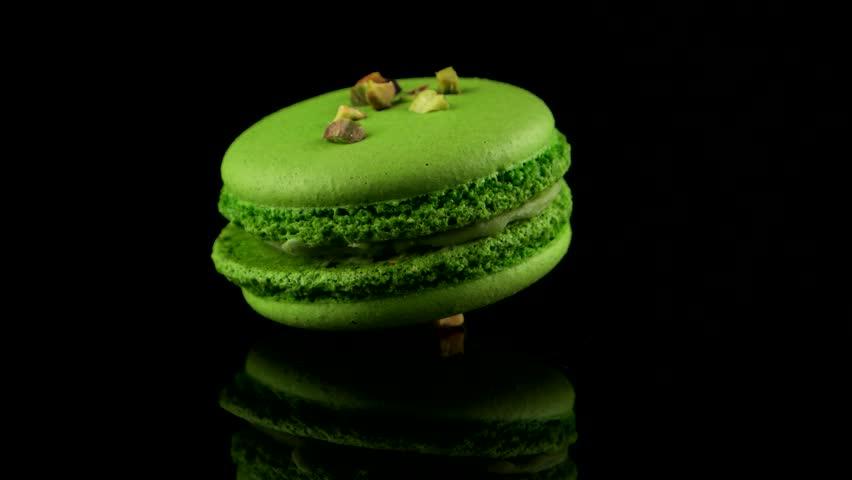 Pistachio flavored macaron, green color