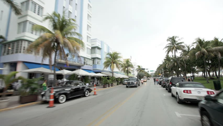 MIAMI BEACH, FLORIDA - JULY 8: Vehicle POV, driving along Ocean Drive, September 10, 2011 in Miami Beach, Florida.