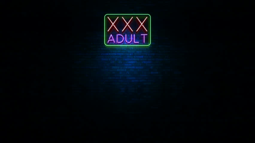 Animation of XXX Adult neon sign flickering at urban wall with blue light in the night
