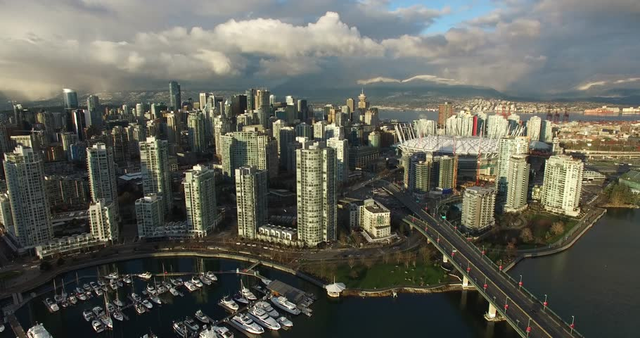 VANCOUVER,CANADA - CIRCA December 2015 :high rising aerial of downtown mountain background   Shutterstock HD Video #13623959
