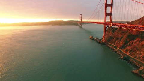 4K Aerial drone shot San Francisco below to above golden gate bridge