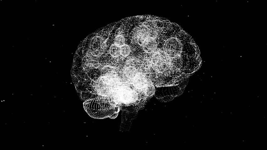 Rotating -xray style mechanical brain illustration