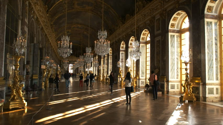 VERSAILLES, PARIS, FRANCE- SEPTEMBER 23, 2015: sunlight streams into the dazzling hall of mirrors in the palace of versailles