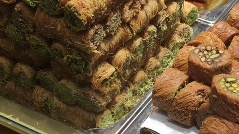 Turkish traditional taste baklava types.