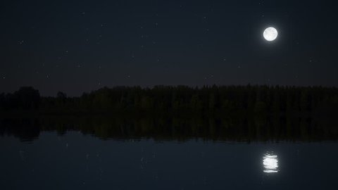 Realistic 3D lake and forest at night with full moon and stars (seamless loop)