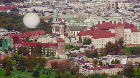 Medieval Wawel castle in Kraków sight seeing balloon appearing in the foreground aerial view