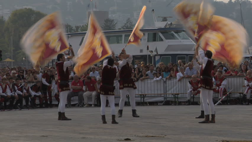 COMO, ITALY - CIRCA SEPT 2011:  Palio del Baradello re-enacts Barbarossa's visit to his allies in Como after defeating Milan in the 1159 battle, circa Sept 2011, Como, Italy. Period dances, games and shows create a medieval atmosphere at this annual event