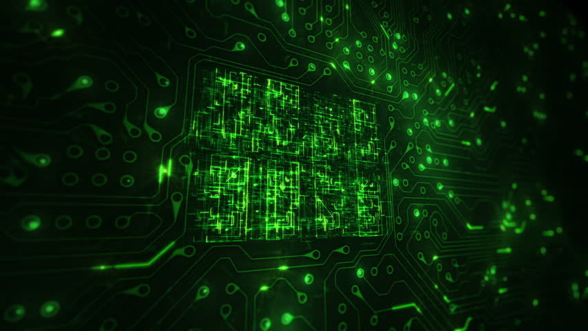 Futuristic circuit board with moving electrons. Loopable. Technology Background. 2 videos in 1 file. Locked with CPU animation. Lateral view. Green. | Shutterstock HD Video #13806947