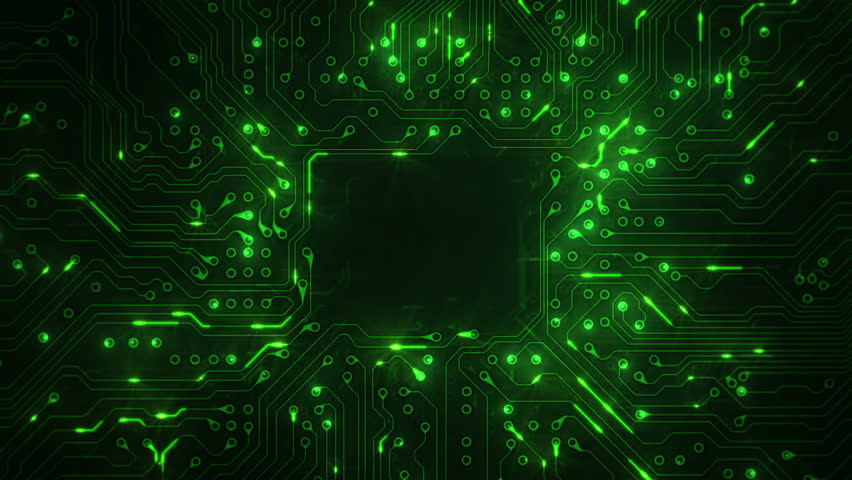 Futuristic circuit board with moving electrons. Dolly in. Locked. Loopable. Copy space. Green. | Shutterstock HD Video #13807097