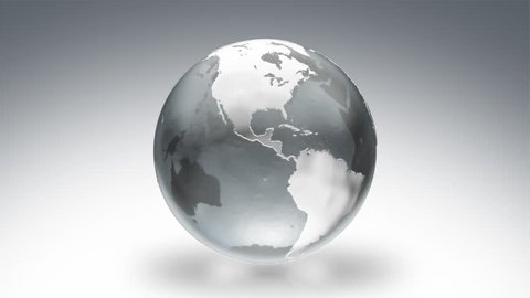 Globe. Luma matte. Silver. Spinning Earth over white background.