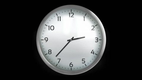 Classic wall clock with 12 hours, you can choose any hour or minute. White. 1 frame per minute. Loopable. Black background.