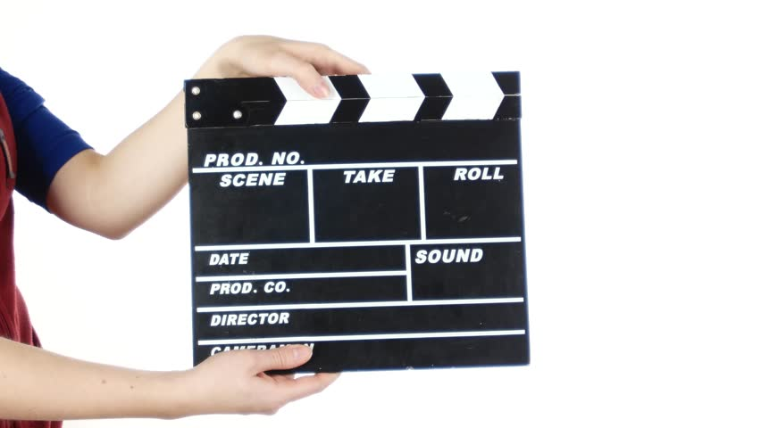 Girl uses movie production clapper board, on white | Shutterstock HD Video #13818857