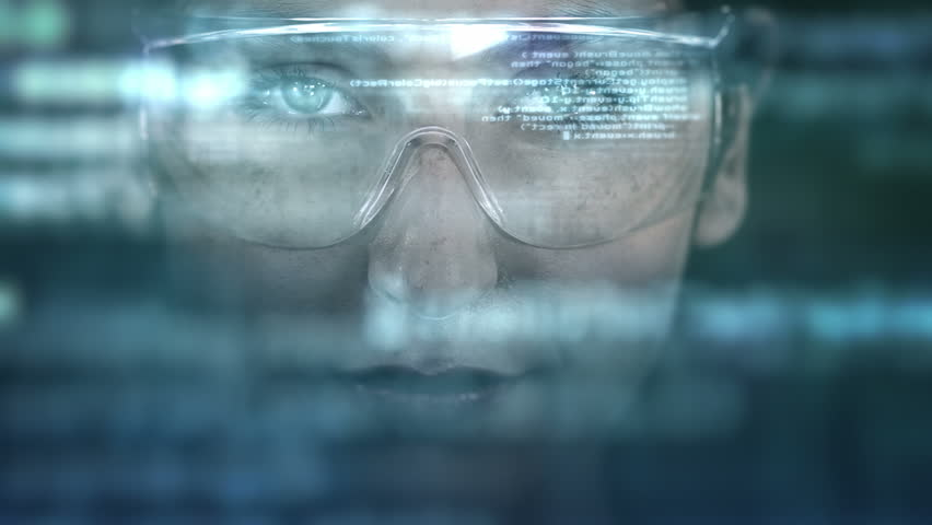 Young woman with holographic glasses. Futuristic. Augmented reality. Dark. | Shutterstock HD Video #13833938