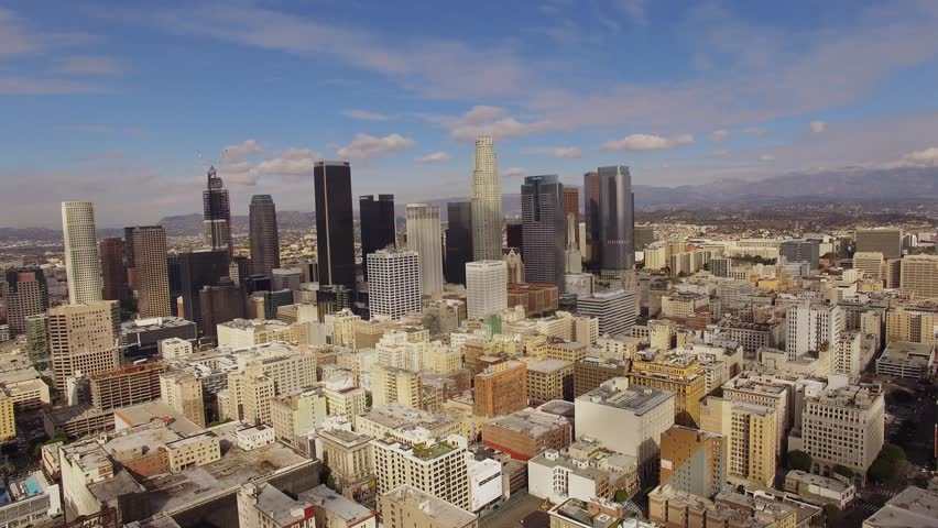Aerial Sunny weather Downtown Los Angeles