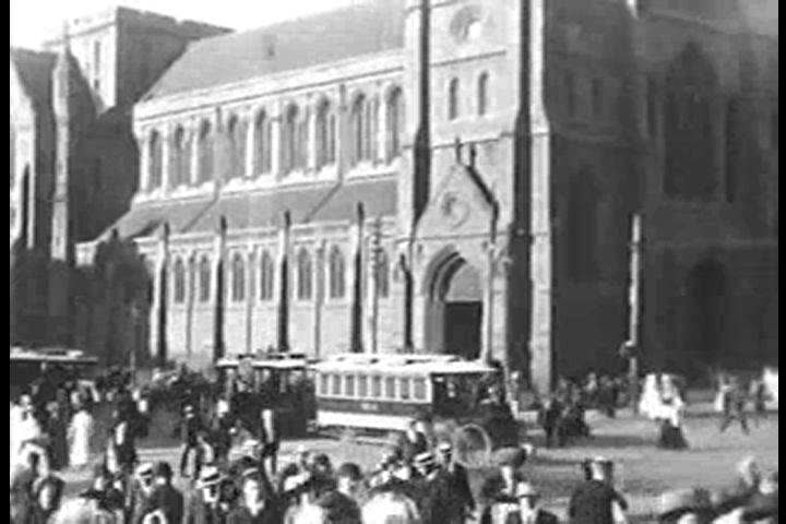 CIRCA 1910s - A busy intersection in front of St. Paul's Cathedral in 1910 in Melbourne, Australia.