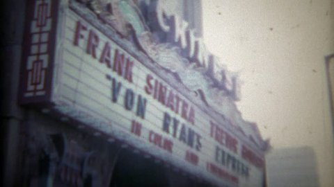 HOLLYWOOD, CALIFORNIA 1965: Frank Sinatra marquee at Chinese theatre for Von Ryan's Express movie.