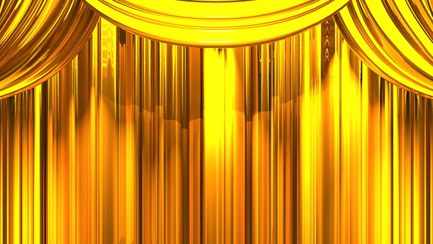 Gold Stage Curtain On Black Background Loop Able 3D Render Animation Stock Footage Video 13899107