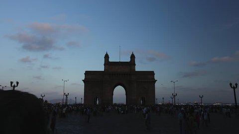Mumbai, India: CIRCA May 2012: 4K Time lapse shot of Gateway of India lit up at evening, Mumbai, Maharashtra, India shot on May 2012.