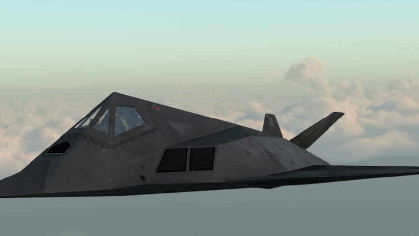 military F-117 Nighthawk stealth aircraft flying in the sky. Wonderfull sunset. Realistic 3d CG animation